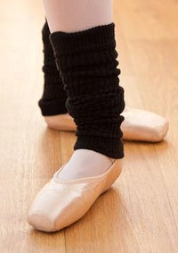 Close-up of ballerina's feet during a ballet lesson